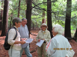 Consultant Laurie Sanders (left) advises residents (from left) Jim Dowell, Barbara Walvoord, and Mary Willard, during a July 3, 2014 walk on the North campus