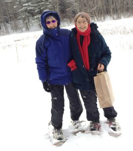 Sharon and I used snowshoes to go to the mid-woods meadow on the east campus to plant wildflower seeds in the snow. 12/17/16.